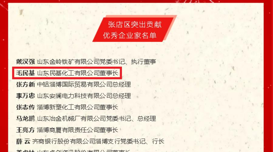 毛民基董事长入选张店区突出贡献优秀企业家名单